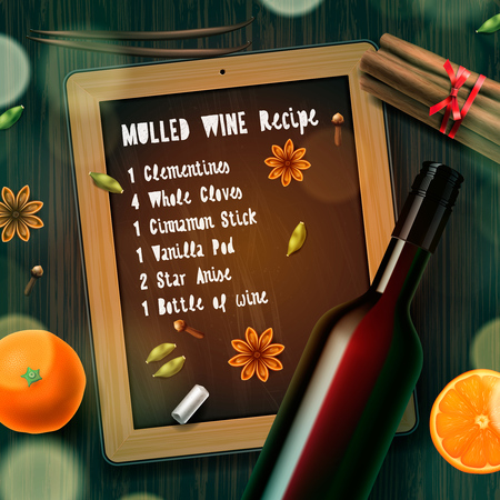 christmas drink: Christmas drink mulled wine, bottle of wine and recipe, vector illustration. Illustration