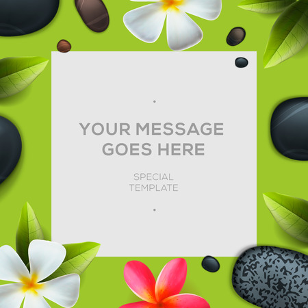 therapy: Health and beauty frame template, concept for spa salon, vector illustration.