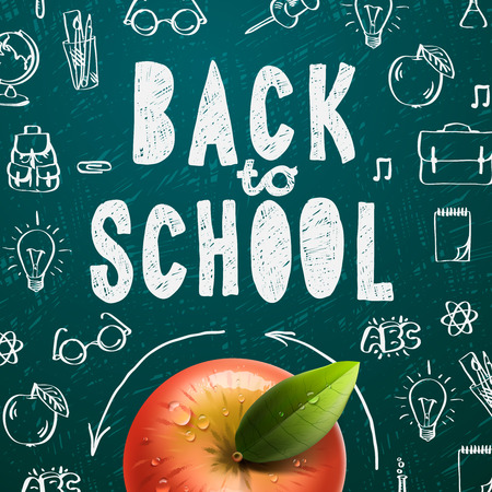 supplies: Welcome back to school sale background with red apple, vector illustration.