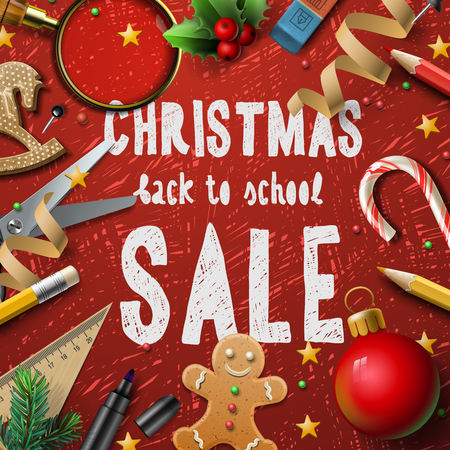 fairs: Christmas Sale poster, promotional background for schools fairs, vector illustration.