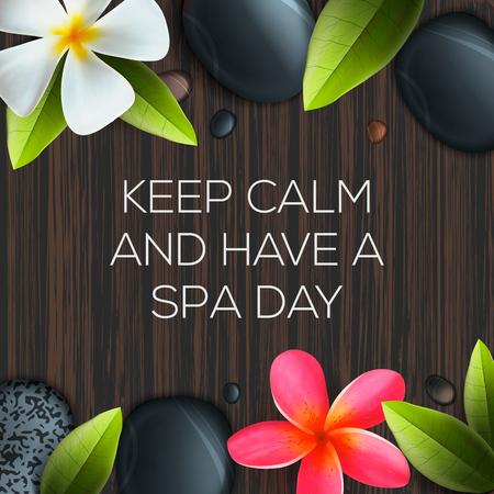 Gardez le calme et un spa jour, soins de santé et un modèle de beauté pour salon de spa, illustration vectorielle.