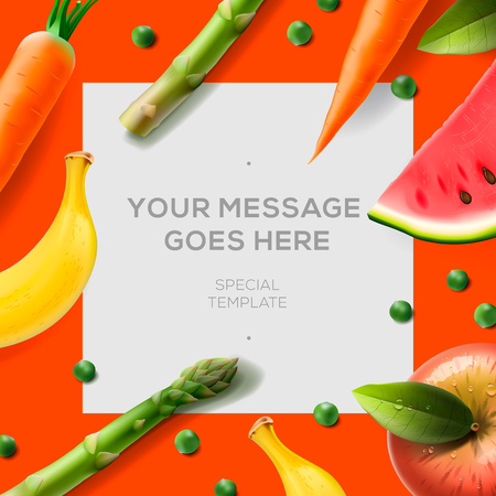 apple border: Healthy food background, with bananas, watermelon, apple, asparagus, vector illustration.