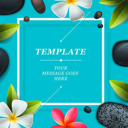 pebbles: Spa concept background - Zen massage stones with frangipani plumeria flower,  vector illustration.