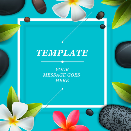 Spa concept background - Zen massage stones with frangipani plumeria flower,  vector illustration.
