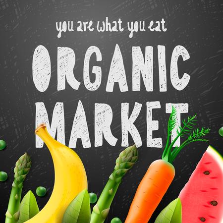 farmers market: Organic food market, fresh farm food background, vector illustration.