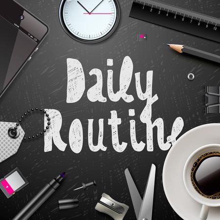 毎日ルーチン、モダンなオフィス用品、黒と白のスタイル、ベクトル図でのコーヒーのカップです。 写真素材 - 49477269