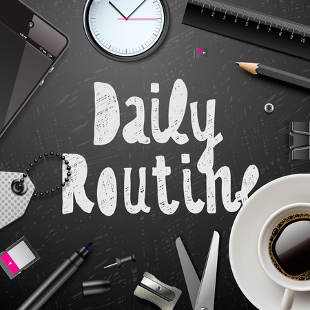 Daily routine, modern office supplies, cup of coffee in black and white style, vector illustration. Ilustração