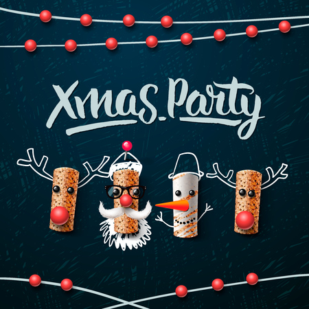 party animals: Christmas party template, Christmas characters, Santa Claus, snowman and reindeer, made from wine cork, vector illustration.
