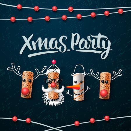 vinho: modelo do natal partido, personagens de Natal, Papai Noel, boneco de neve e renas, feita a partir de cortiça do vinho, ilustração do vetor.