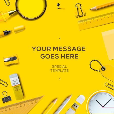 papírnictví: Barevné školní potřeby, žluté pozadí, vektorové ilustrace.