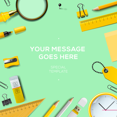 Back to school template with office supplies, green background, vector illustration.