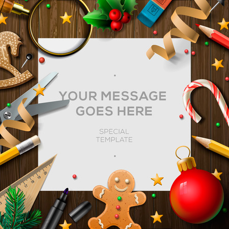 wishlist: Merry Christmas wish list, letter for Santa Claus on wooden background with holiday decoration, vector illustration. Illustration