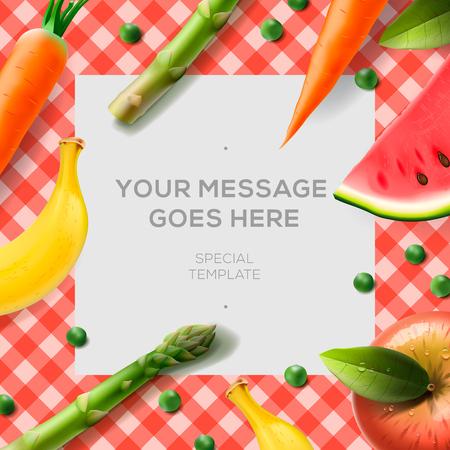 pomme rouge: Les légumes frais et des fruits sur le fond de la nappe et de papier pour les notes, illustration vectorielle. Illustration