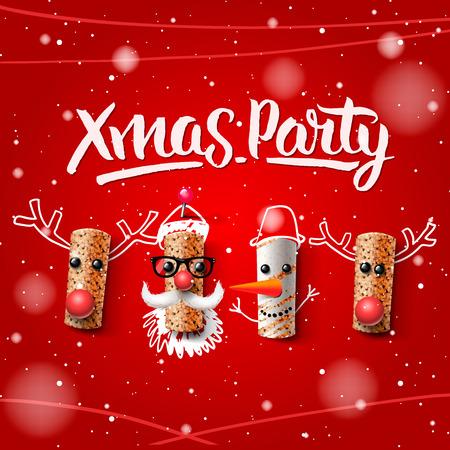 와인 코르크, 벡터 일러스트 레이 션에서 만든 크리스마스 파티 템플릿, 크리스마스 문자, 산타 클로스, 눈사람 및 순록.