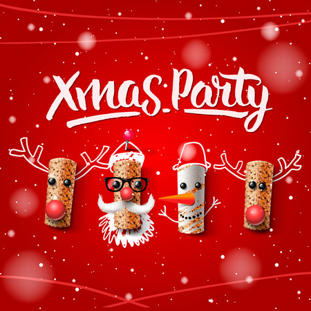 Christmas party template, Christmas characters, Santa Claus, snowman and reindeer, made from wine cork, vector illustration.
