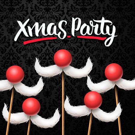 invitacion fiesta: tarjeta de Navidad de la oficina del partido, Santa bigote, ilustración vectorial.