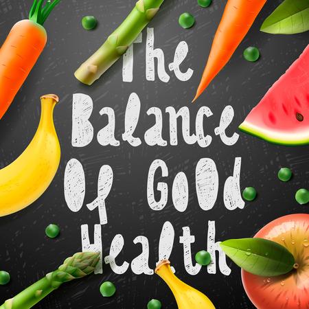 buena salud: El saldo de la buena salud, estilo de vida saludable, ilustración vectorial.