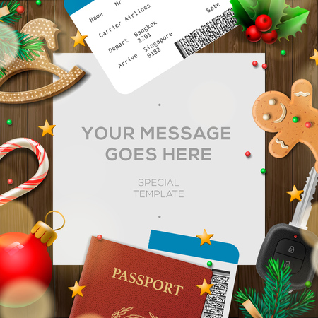 Winter holiday, Christmas travel template, wooden background,  illustration. Illustration