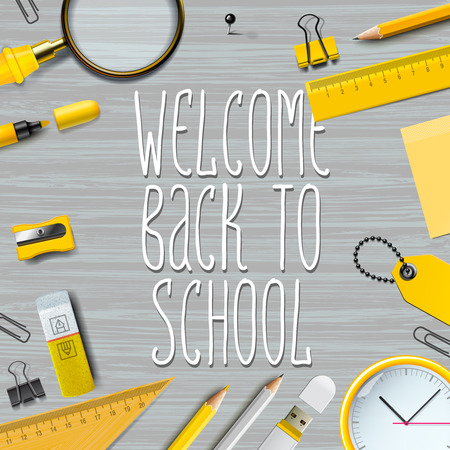 utiles escolares: Welcome Back to school template with school supplies on wooden texture background, vector illustration.