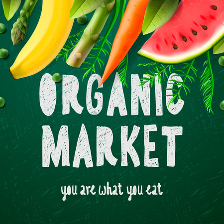 food market: Organic food market, you are what you eat, vector illustration.