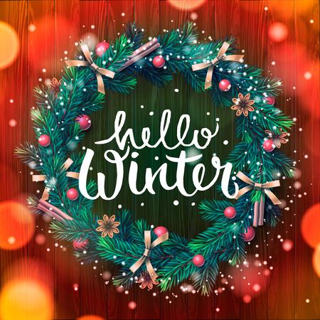 Hello Winter Lettering, Christmas Decoration Wreath, Vector ...