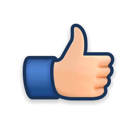 Like icon, thumb up symbol, vector illustration.