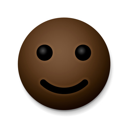 Happy emoticon, african american, isolated on white background. Illustration