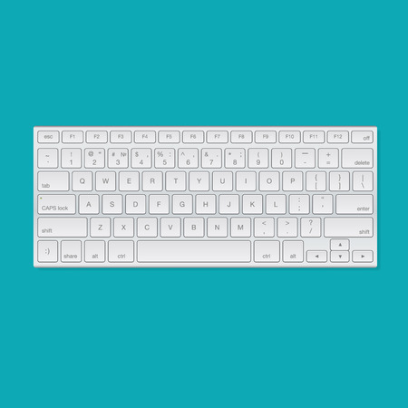 Computer keyboard, isolated on blue background, vector illustration. Vectores