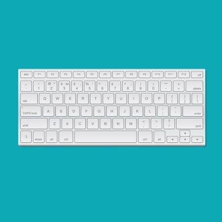 Computer keyboard, isolated on blue background, vector illustration. Stock Illustratie