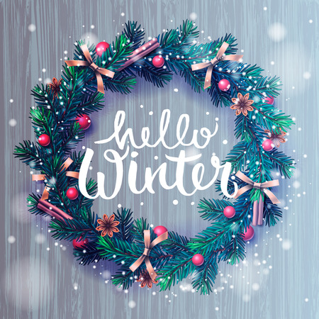 Hello winter lettering, Christmas decoration wreath, vector illustration. Vettoriali