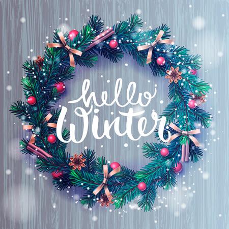 Hallo winter belettering, kerstversiering krans, vector illustratie.