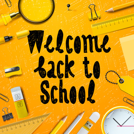 article marketing: Back to School marketing background, vector illustration for greeting card, ad, promotion, poster, flier, blog, article, social media. Illustration