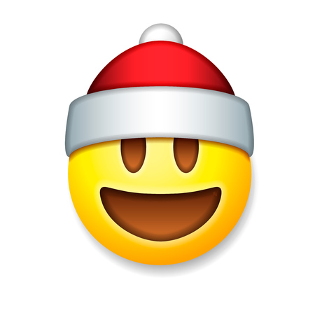 Santa Claus Emoticon laughing, holiday emoji smile symbol, isolated on white background, vector illustration.
