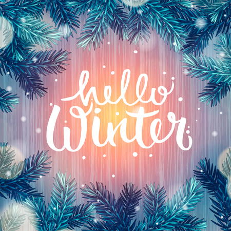 defocussed: Hello Winter, holiday background, Christmas fir tree and snowflakes, vector illustration.