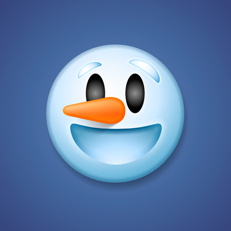 emoticon: Snowman emoticon laughing, holiday smile symbol, isolated on blue background, vector illustration. Illustration