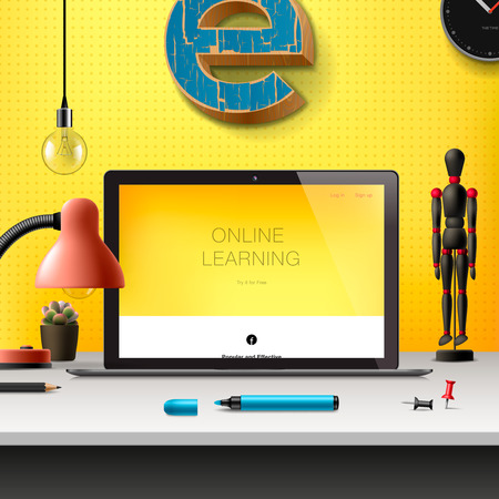workspace: Online learning concept, workspace with computer, lamp and office supplies, yellow background, vector illustration. Illustration