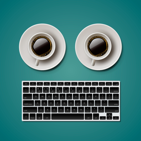 weblog: Blogging and writing for website, trendy objects in flat style, keyboard, two cups of coffee, vector illustration.