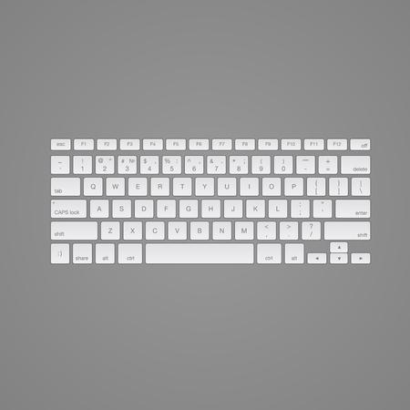 computer keyboard: Computer keyboard, isolated on grey background, vector illustration.