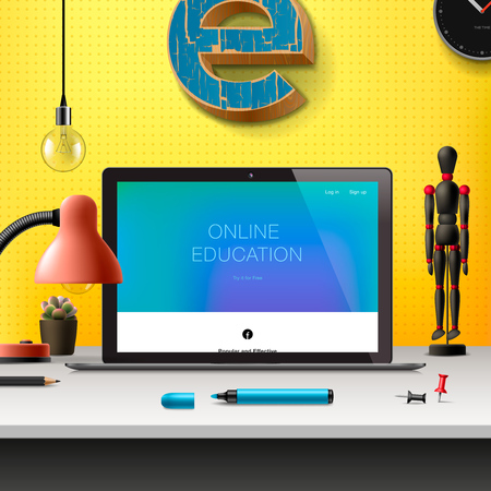 office supplies: Online learning concept, workspace with computer, lamp and office supplies, yellow background, vector illustration. Illustration