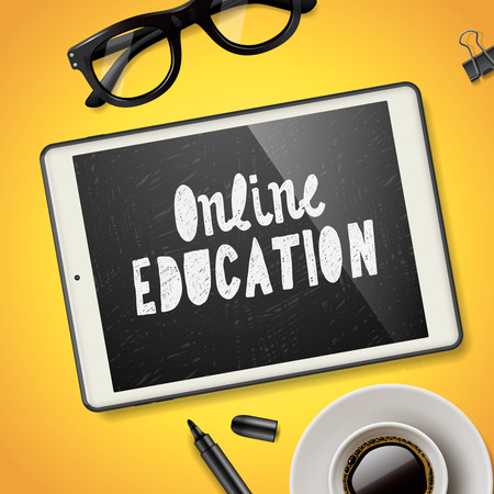workspace: Online education concept, workspace with device, glasses and cup of coffee, yellow background, vector illustration. Illustration