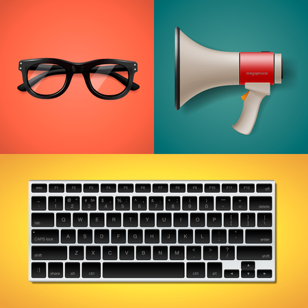 weblog: Blogging and writing for website, trendy objects in flat style, keyboard, megaphone and glasses, vector illustration. Illustration