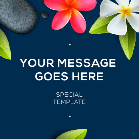 subtropical: Botanical background with copy space, tropical flowers Frangipani, vector illustration.
