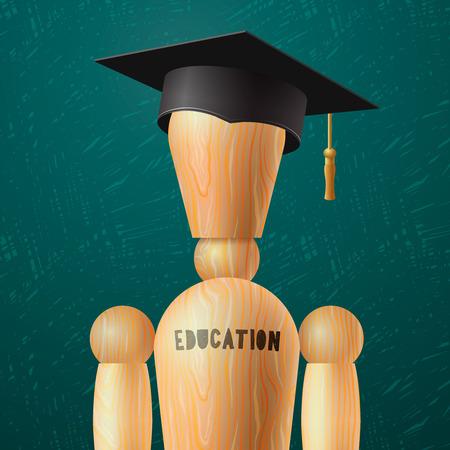 birretes: diseño de la educación, el muñeco de madera en el birrete, ilustración vectorial. Vectores