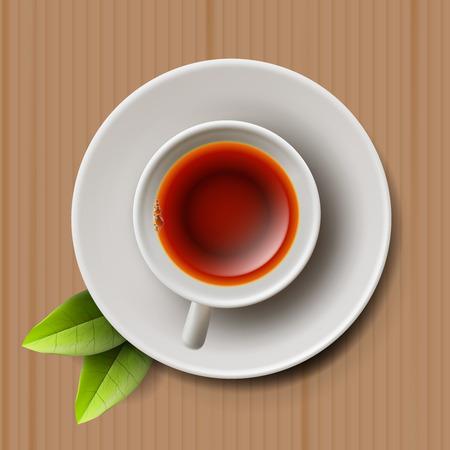 black tea: Cup of black tea with tea leaves, top view on cardboard texture background, illustration vector. Illustration