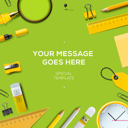 Work space background with copy space for your text, top view. Business and office supplies on green background, vector illustration.