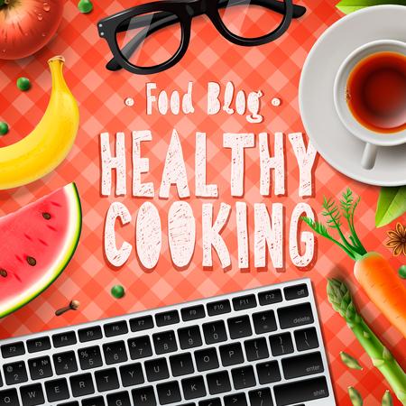 cuisine blog, recettes de cuisine saine en ligne, illustration