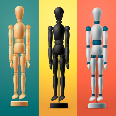 artists dummies: Artists wooden dummy on colorful background, painting and drawing equipment, vector illustration.