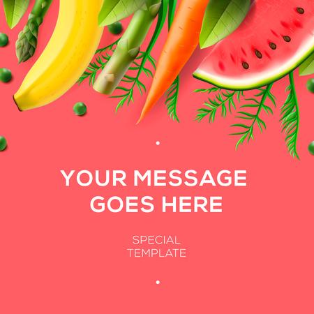 Fresh fruit and vegetables, background for restaurant menu design, vector illustration.