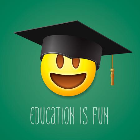 Education is fun, emoticon laughing in the mortarboard, emoji smile symbol, vector illustration.