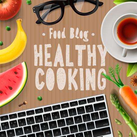 website template: Food blog, healthy cooking recipes online, vector illustration. Illustration